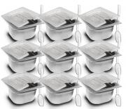 CONJ 9 CUBAS Gastronômicas Em INOX GN 1/6x100 mm 1,5 Litros + 9 TAMPAS 1/6 Em POLICARBONATO Com ABERTURA + 9 COLHERES Em POLI 20,5 cm Originais ZAHAV & CAMBRO