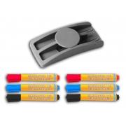 CONJ Apagador Plástico Para Quadro Branco Com Porta Marcadores 9074 Stalo + 6 Marcadores Sortidos Para Quadro Branco