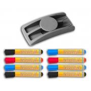 CONJ Apagador Plástico Para Quadro Branco Com Porta Marcadores 9074 Stalo + 8 Marcadores Sortidos Para Quadro Branco