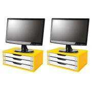 Conj com 2 Suporte Para Monitor em MDF Amarelo com 3 Gavetas Brancas - Souza