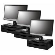 Conj. com 3 Suportes Para Monitor em MDF Black Piano 2 Gavetas Black Piano Souza Referência 3346