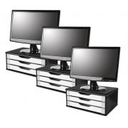 Conj com 3 Suportes para Monitor em MDF BLACK Piano com 3 Gavetas Brancas Souza Referência 3349