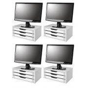 Conj com 4 Suporte para Monitor em MDF Branco com 3 Gavetas Brancas - Souza