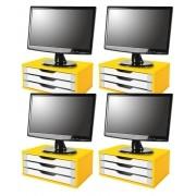 Conj com 4 Suportes para Monitor em MDF Amarelo com 3 Gavetas Brancas Souza Referência 3356