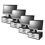 Conj com 4 Suportes para Monitor em MDF BLACK Piano com 3 Gavetas Brancas Souza Referência 3349