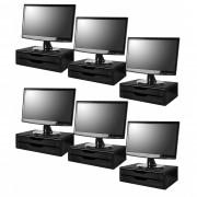 Conj com 6 Suportes Para Monitor em MDF Black Piano 2 Gavetas Black Piano Souza Referência 3346