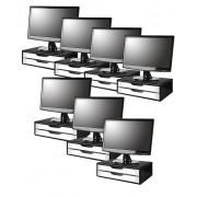 Conj com 7 Suportes Para Monitor em MDF BLACK Piano 2 Gavetas BRANCAS Souza Referência 3348