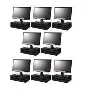 Conj com 8 Suportes Para Monitor em MDF Black Piano 2 Gavetas Black Piano Souza Referência 3346