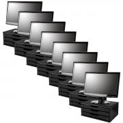 Conj com 8 Suportes para Monitor em MDF Black Piano com 3 Gavetas Souza Referência 3347