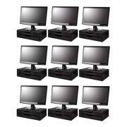 Conj com 9 Suportes Para Monitor em MDF Black Piano 2 Gavetas Black Piano Souza Referência 3346