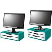 Kit Suportes Para Monitor em MDF AZUL 1 Com 2 e 1 Com 3 Gavetas Brancas Souza Referência 3352 e 3357