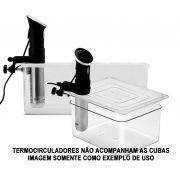 Conj. 1 Cuba Gastronômica Policarbonato GN 1/1X200 mm 24 Litros + 1 Cuba Gastronômica 1/2x200 mm 12 Llitros Ambas Originais e Com TAMPA Com Abertura Para Sous Vide