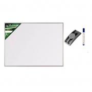 Conj. Quadro Branco Standard 120x90 cm com Moldura de Alumínio 5605 + 1 Marcador Para Quadro Branco + 1 Apagador Qdo. Bco. EVA