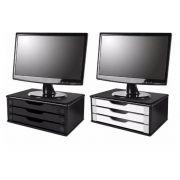Conj 2 Suporte Para Monitor em MDF com 3 Gavetas - 1 Black Piano e 1 Black Piano com gavetas brancas
