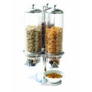 Dispenser Porta Cereais triplo 4 L cada inox policarbonato
