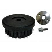 Escova para lavar base plástica 120 mm cerdas grossas pretas 0,30 mm COM FLANGE E ADAPTADOR ROSCA M14