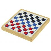 Jogo de Damas e Trilha Fundo branco e AZUL R-7031