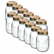 Conj 12 Potes de Vidro Quattro Stagioni 500 ml  Para Conservas e Afins COM Tampa Original