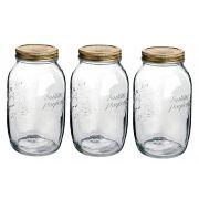 Conj 3 Potes de Vidro Quattro Stagioni Original 1,5 Litros Para Conservas e Afins COM Tampa