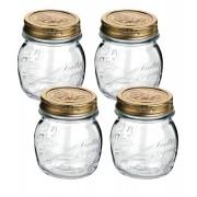 Conj 4 Potes de Vidro Quattro Stagioni 250 ml Para Conservas e Afins COM Tampa Original