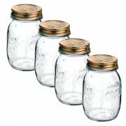 Conj 4 Potes de Vidro Quattro Stagioni 500 ml Para Conservas e Afins COM Tampa Original