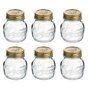 Conj 6 Potes de Vidro Quattro Stagioni 150 ml Para Conservas e Afins COM Tampa Original
