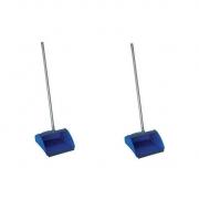 KIT Com 2 PÁS Coletoras Pop Azul Cabo Aluminio 80 cm BRALIMPIA