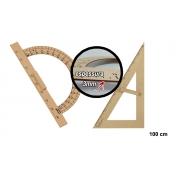 Kit Geométrico do Professor Com 1 Transferidor 180 Grau MDF e 1 Esquadro MDF 30°/60° Graus