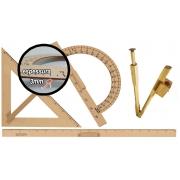 Kit Geométrico do Professor Mdf Com Régua 1 Metro, 1 Compasso Para Quadro Branco 40 cm, 1 Transferidor 180 Graus e 1 Esquadro 45° Graus