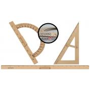 Kit Geométrico do Professor Mdf Com Régua 1 Metro 1 Transferidor 180 Graus 1 Esquadro 30º/60º Graus