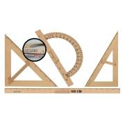 Kit Geométrico do Professor Mdf Com Régua 1 Metro, Esquadro 30/60 Graus, 1 Esquadro 45 Graus e Transferidor 180 Graus