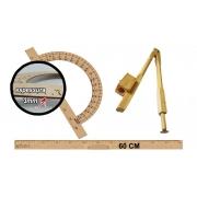 Kit Geométrico do Professor Mdf Com Régua 60 cm 1 Compasso Para Quadro Branco 40 cm e 1 Transferidor 180 Graus