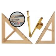 Kit Geométrico do Professor MDF PINUS Com 1 Compasso Para Quadro Branco 40 cm 1 Esquadro 30°/60° Graus e 1 Esquadro 45º Graus