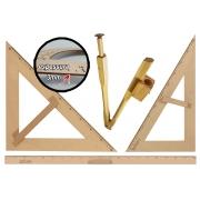 Kit Geométrico do Professor Mdf/Pinus Com Régua 1 Metro + 1 Compasso Para Quadro Branco 40 cm + 1 Esquadro 30/60 Graus + 1 Esquadro 45 Graus SOUZA
