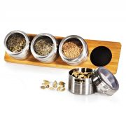 Porta condimentos em inox e bambu Acapulco - 5 peças TE-04683