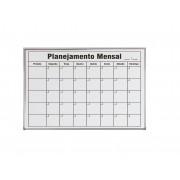 Quadro Branco 90x60 Planejamento MENSAL Moldura Alumínio Pop Referência 6336