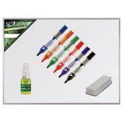 Quadro Branco 90x60 Standard Moldura de Alumínio Pop + 6 Canetas PILOT Recarregável + Apagador + Limpador - 5603