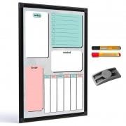 Quadro para planejamento Planner Color 60x40 cm tela colorida R8457 + 2 marcadores + apagador plástico