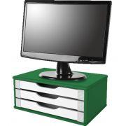 Suporte para Monitor de Mesa em MDF Verde com 3 Gavetas Brancas Souza Referência 3358