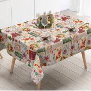 Toalha de Mesa Plástica Térmica 1,38X2,20 Metros Estampa Lembranças de Natal