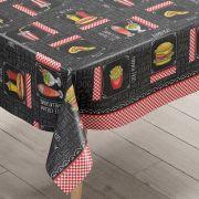 Toalha de mesa plástica Térmica 1,38X1,60 m Estampa Lanchonete