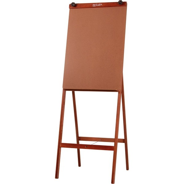 Porta Bloco Cavalete Flip Chart Estrutura Pinus Luxo Verniz Cor Mogno c/ Suporte Para Canetas Altura 1,80m - Souza
