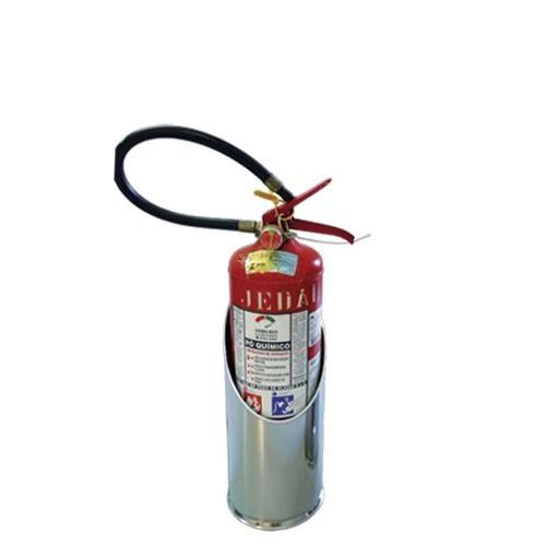 Suporte p/ Extintor Ø16 X 38CM em Inox c/ Elevação - Chanfrado