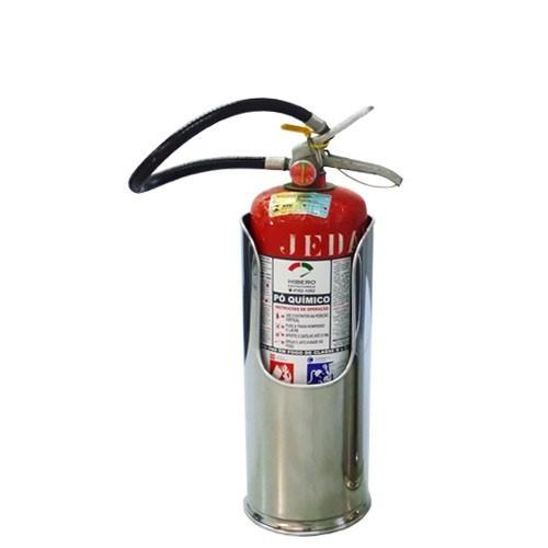 Suporte p/ Extintor Ø16 X 38CM em Inox c/ Elevação - Raiado