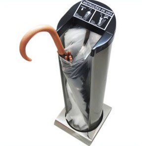 Suporte Inox p/ Embalar Guarda-Chuva c/ 50 Sacos Plásticos