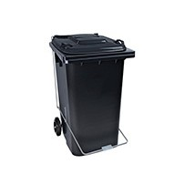 Lixeira Carrinho Coletor de Lixo 240 litros COM Pedal PRETA
