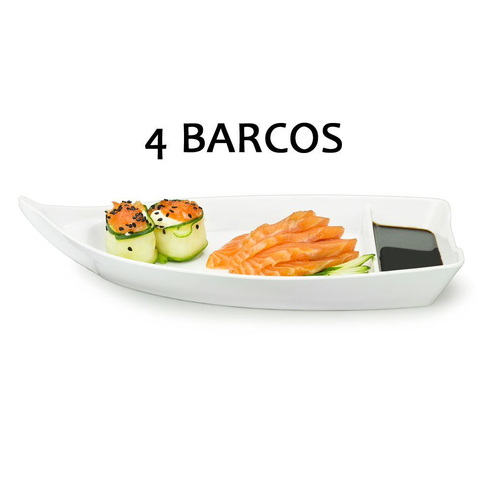 4 BARCA BARCO SUSHI SASHIMI AÇAI MELAMINA BRANCO 26,2 CM 370 ML