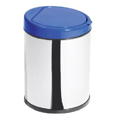Lixeira Inox 3L com Balde Click Tampa Azul - Ø16 X 23cm