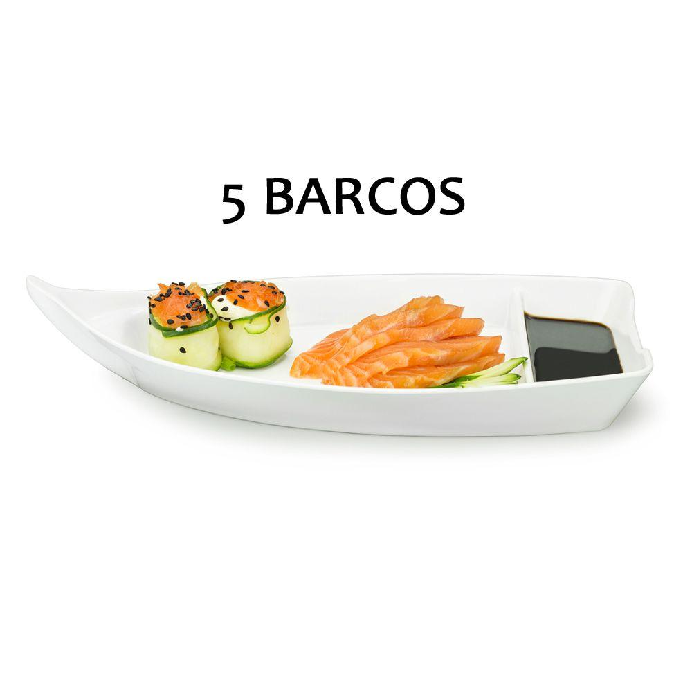 5 BARCA BARCO SUSHI SASHIMI AÇAI MELAMINA BRANCO 26,2 CM 370 ML