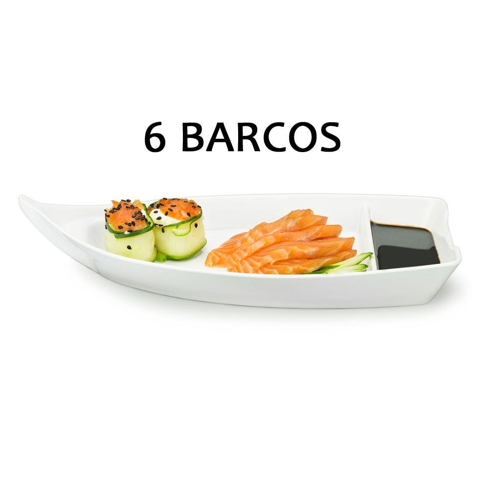 6 BARCA BARCO SUSHI SASHIMI AÇAI MELAMINA BRANCO 26,2 CM 370 ML